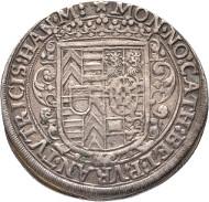 Hanau-Münzenberg. Katharina Belgia, 1612-1626, Vormund für ihren Sohn Philipp Moritz.  1/2 Reichstaler 1623, Hanau. Suchier 90. Kleine Kratzer, sehr schön.