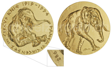 Medal on 75 years circus Knie, 1994. © www.schweizer-geld.ch
