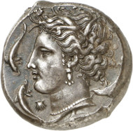 Lot 44: SICULO-PUNIANS (Sicily). Tetradrachm, 320-310. Acquired from Ratto in 1945. Marvelous style! About extremely fine. Estimate: 12,000,- euros. Hammer price: 24,000,- euros.