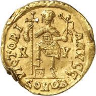 Nr. 727: GLYCERIUS, 473-474. Solidus, Ravenna. Äußerst selten. Fast vorzüglich. Taxe: 30.000,- Euro. Zuschlag: 65.000,- Euro.