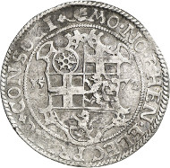 Lot 3139: HESSE. Louis IV of Marburg, 1567-1604. 1/2 vereinsthaler 1572. Very rare. About very fine. Estimate: 500,- euros. Hammer price: 3,600,- euros.