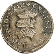 Lot 3655: ITALY / CASALE / MONTFERRAT. William II, 1494-1518. Bronze medal n. y. Rare. Very fine to extremely fine. Estimate: 100,- euros. Hammer price: 2,400,- euros.