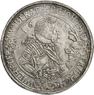 Nr. 4461: SAMMLUNG BRETSCHNEIDER / SACHSEN-ALTENBURG. Johann Philipp, Friedrich, Johann Wilhelm und Friedrich Wilhelm II., 1603-1625. Doppelter Reichstaler 1623, Saalfeld. Äußerst selten. Sehr schön bis vorzüglich. Taxe: 4.000,- Euro. Zuschlag: 16.000,- Euro.