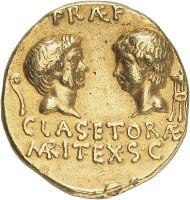 Nr. 7818: RÖMISCHE REPUBLIK. Sextus Pompeius, + 35. Aureus, 37/6, sizilische Münzstätte. Abgebildet bei Bahrfeldt, ZfN 28 (1896), Tf. X, 231. Sehr selten. Gutes sehr schön. Taxe: 100.000,- Euro. Zuschlag: 157.500,- Euro.