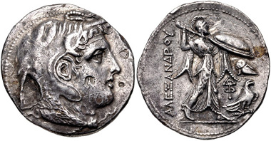 Lot 1: PTOLEMAIC KINGS of EGYPT. Ptolemy I Soter. As satrap, 323-305 BC. AR Tetradrachm in the name of Alexander III of Macedon. Alexandreia mint. Struck circa 311/0-305 BC. Svoronos 168; SNG Copenhagen 19. VF. From the J. P. Righetti Collection, 001. Estimate: $300.