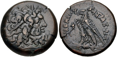 Lot 56: PTOLEMAIC KINGS of EGYPT. Ptolemy IV Philopator. 222-205/4 BC. AE Triobol. Alexandreia mint. Series 5. Svoronos 1127; SNG Copenhagen 201-2. Near EF. From the J. P. Righetti Collection, 068. Estimate: $200.