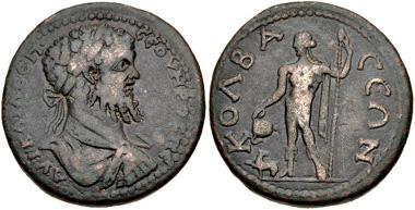 Lot 502: PISIDIA, Colbasa. Septimius Severus. AD 193-211. AE. SNG von Aulock 5060 = Franke, Kleinasien 383 (this coin). Near VF. Ex Hans von Aulock Collection. Estimate: $200.