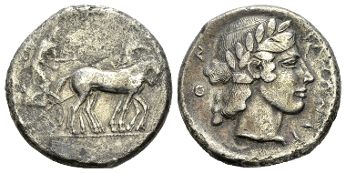 Lot 23: Sicily, Catana, Tetradrachm 450-440, AR. Rizzo pl. 10, 5 (this dies). About VF. Starting bid: GBP 600.