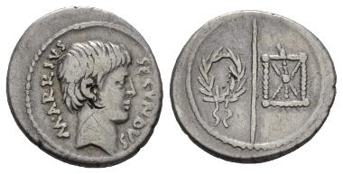 Lot 335: Marcus Arrius Secundus. Denarius 41, AR. Crawford 511/2b. Nearly VF. Starting bid: GBP 1,250.