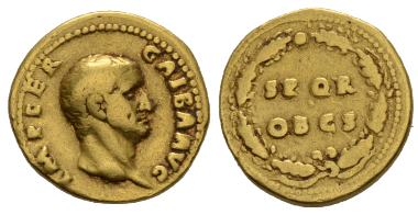 Lot 359: Galba, Aureus July 68-January 69, AV. C 286. RIC 164. About VF. Starting bid: GBP 1,500.