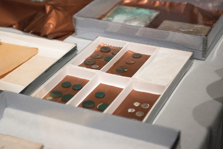 Coins from the time between 1652 and 1855 were kept in the time capsule. Photograph © Museum of Fine Arts, Boston.