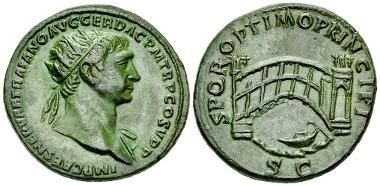 Traianus. Dupondius, c. 107-110 AD. Estimate: CHF 1,200.