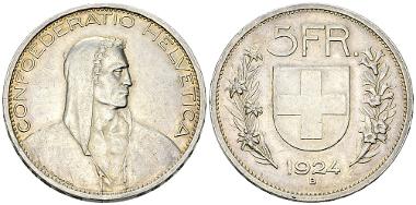 Switzerland. 5 Franken 1924 B. Estimate: CHF 750.