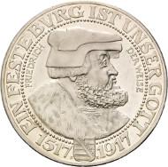 Los 2279: Sachsen, Friedrich August III., 3 Mark 1917 E (J.141), Friedrich der Weise. Schätzpreis: 65.000,- Euro.