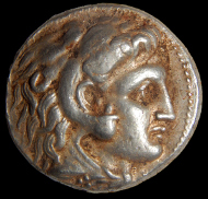 A coin of Alexander of Macedon that was part of the silver cache. Photograph: Shmuel Magal. Courtesy of the Israel Antiquities Authority.