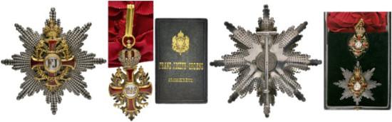 4107: Franz Joseph Orden. Großkreuz - komplette Garnitur. Im dunkelgrünen ledernen Originaletui mit dekorativem Goldaufdruck. Selten. R. Rufpreis: 5.000 Euro.