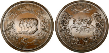 2557: Alexander I. (1801-1825). Galvanoplastische AE-Medaille o.J. (1850) von Benedetto Pistrucci. Auf die Schlacht bei Waterloo. RR. Rufpreis: 1.000 Euro.