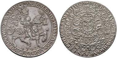 2646: Maximilian I. (1493-1519). Doppelter Schauguldiner. 1509 Antwerpen Mm:U. Ursentaler. Auf die Annahme des Kaisertitels. RR. 5.000 Euro.