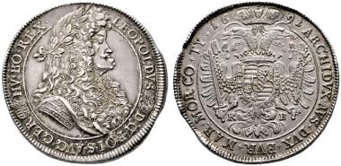 2886: Leopold I. (1657-1705). Doppeltaler 1691 KB Kremnitz RR. Rufpreis: 20.000 Euro.