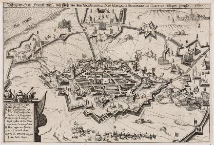 Siege of Frankenthal 1621. From: Nicolaus Bellus, Österreichischer Lorbeerkranz oder Kayserl. Victorii..., 1625. Source: Wikicommons.