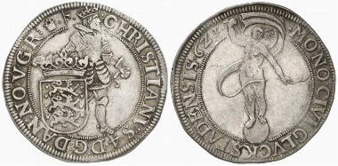 Christian IV of Denmark. Speciesthaler, 1623, Glückstadt. Auction Künker 176 (2010), 5574.