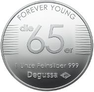 Degussa Medaille 1965. 1 Unze Feinsilber 999.
