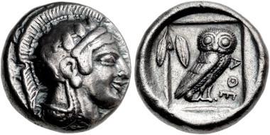 Lot 121: Attica, Athens. Circa 475-465 BC. Didrachm. Starr Group IV, 142 var. (O122/R); HGC 4, 1617 corr.; SNG Copenhagen 30; Boston MFA 1602; Hunterian 10; Rhousopoulos 1979. Good VF. Very rare. Estimate: $15,000.