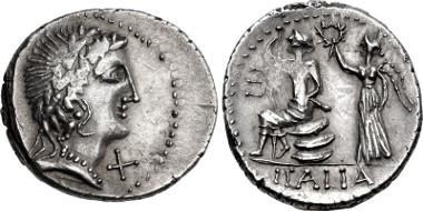 Lot 545: The Social War. Coinage of the Marsic Confederation. 90-88 BC. Denarius. Series 7b. Corfinium mint. Struck 89 BC. Campana, Monetazione, 107j (D72/R94); Sydenham 624; BMCRR Social War 15. EF, Rare. Ex Hess-Leu 49. Estimate: $7500.
