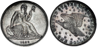 Lot 1138: United States, Federal issues. Proof Silver Dollar. Philadelphia mint. Dies by Christian Gobrecht. Dated 1836. Korein p. 89, die alignment I; Judd 60; Breen 5412. Estimate: $10,000.