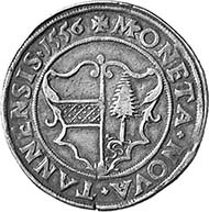 Thann. Reichstaler 1556. Dav. 9910. Aus Auktion Münzen und Medaillen AG, Basel 91 (2001), 704.
