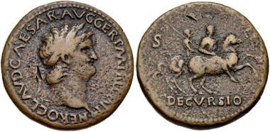 Lot 383: Nero. AD 54-68. Sestertius. Lugdunum (Lyon) mint. Struck circa AD 65. RIC I 395; WCN 403. Near VF. Rare. From the Estate of Wayne C. Phillips. Estimate: $200.
