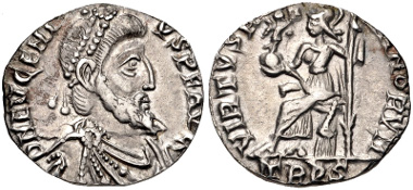 Lot 585: Eugenius. AD 392-394. Siliqua. Treveri (Trier) mint. RIC IX 106d; RSC 14†a. Near EF. Ex 2010 Gussage All Saints Hoard. Estimate: $1000.