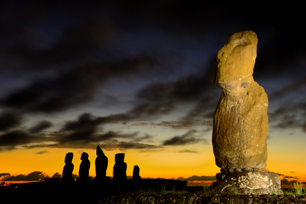 Moai on Rapa Nui. Adam Stanford © Aerial-Cam Ltd for RNLOC.