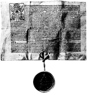 Letter of indulgence, issued in the name of Leo X, 1515. Source: Wikicommons.