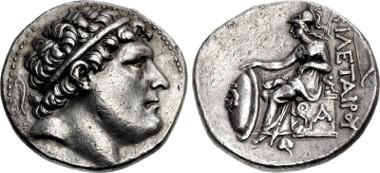 Kings of Pergamon. Philetairos. 282-263 BC. Tetradrachm. Pergamon mint. Struck circa 269/8-263 BC. Westermark Group II, dies V.11/R.1 (Eumenes I); SNG France 1603 (Eumenes I); SNG von Aulock 1957 (same dies; Eumenes I). Good VF, toned. From the Elwood Rafn Collection. Price: $1450.