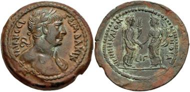 Egypt, Alexandria. Trajan. AD 98-117. Drachm. Dated RY 16 (AD 112/113). Köln 603-4 var.; Dattari (Savio) 7009; K&G 27.445; Emmett 450.16. Near EF. Ex Nomos FPL Winter-Spring 2012. Price: $6750.
