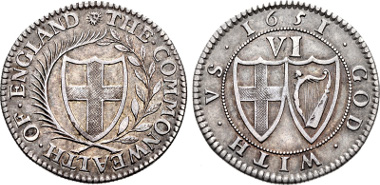 Commonwealth. 1649-1660. Pattern Sixpence Dated 1651. ESC 1498; North p. 206 note. Good VF, toned. Rare. Ex St. James's 10. Price: $5250.