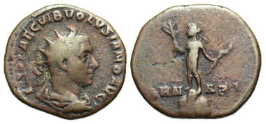 Volusian. A.D. 251-253. Medallion. Rome mint. Ex Wiczay collection, published by Eckhel in 1775 and cited by Cohen. Extremely rare. Estimate: $ 1,000.
