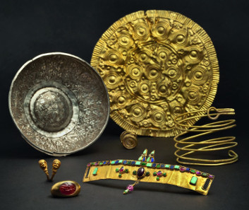 A variety of exquisitely worked objects that were crafted by gold and silversmiths in ancient times, originating from the 15th century B.C.to the 15th century A.C.