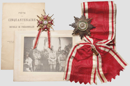 4054: Order of St. Stanislaus - a set of the 1st Class with Swords, Russia, circa 1910. Estimate: 14,000 euro.