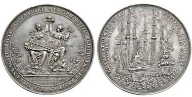 1649: Großbritannien. Commonwealth. 1649-1660. Große Medaille 1654 auf den Frieden von Westminster am 8. Mai zwischen Großbritannien und den Niederlanden. Rufpreis: EUR 6.500.
