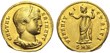 Lot 327: GALERIA VALERIA (died. 314 AD.). Aureus. 308 - 310 AD. Nicomedia.