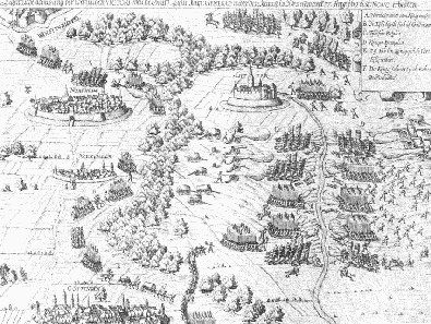 Contemporary drawing of the Battle of Lutter, 17th century. Source: Wikicommons.