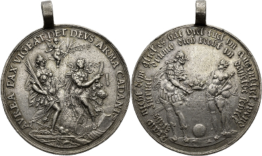 Saxony. John George I, 1611-1656. Medal n. y. (1627) of Sebastian Dadler on the hope for peace after the Battle of Lutter. Peus 413 (2014), 1871.