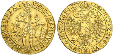 Bohemia. Ferdinand II. 10 ducats, 1637, Prag. Auction sale Künker 239 (2013), 5652.