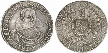 Albrecht of Wallenstein, 1623-1634. Reichsthaler 1629, Wismar. Auction sale Künker 201 (2012), 787.