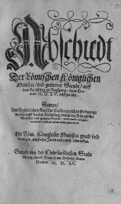 Front page of the Peace of Augsburg by Franz von Behem, printed in Mainz in 1555. Source: Wikicommons.