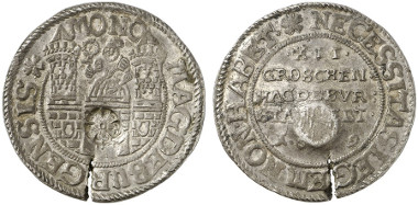 Magdeburg. 12 groschen, 1629. Coinage struck during the siege. Auction sale Künker 237 (2013), 2298.