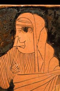 Sittsame Herrin des Hauses. Trinkbecher (Skyphos); gebrannter Ton; Athen, um 450 v. Chr.; Antikenmuseum Basel und Sammlung Ludwig, BS 426. (Aufnahmen: R. Habegger, A. Voegelin).