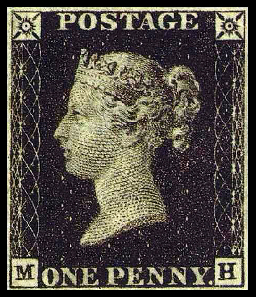 One Penny Black Stamp. Source: Wikipedia.